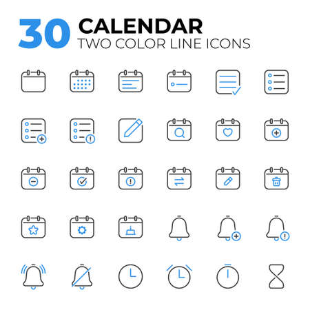 Calendar Date and Time two color line icons.