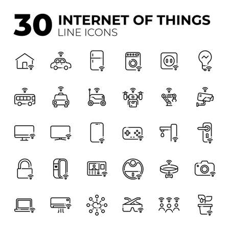 Internet of Things line icons.