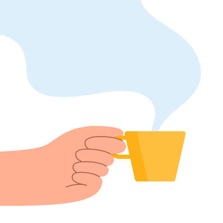 Hand  with coffee cup  vector illustration.