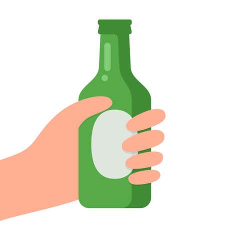 Hands with bottle of beer vector illustration. Ilustração