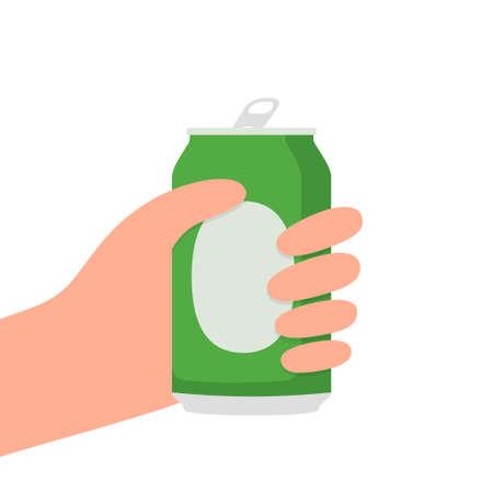Hand  with a beer can vector illustration. Ilustração