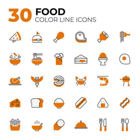 Color line style Food icons. Ilustração