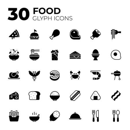 Glyph style Food icons.