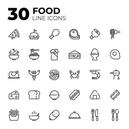 Outline style Food icons.