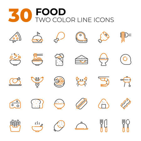 Two color line style Food icons.