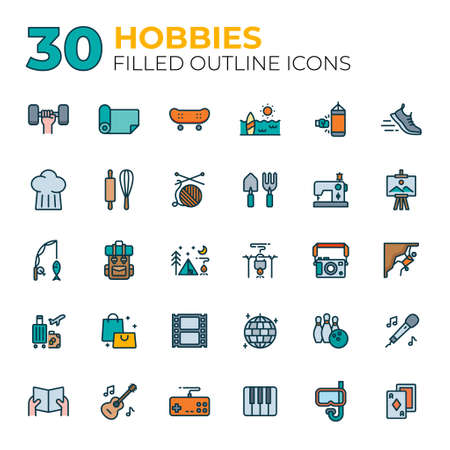 Set of Free time and Hobbies icons.