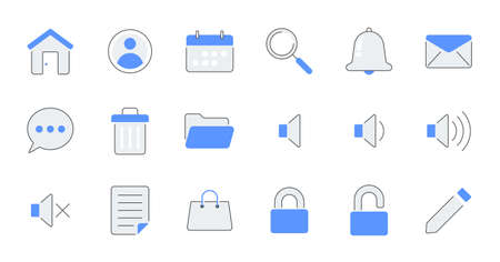 set of simple icons contains such Icons as export, security, bookmark, upload, and more