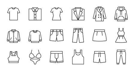 Simple icon set contains such Icons as bathrobe, pajamas, socks, shoes, and more Ilustração