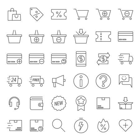 Simple icon set contains such Icons as shopping bag, shopping cart, delivery and more