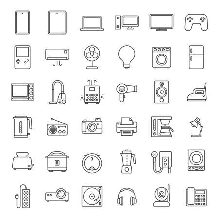 home appliances Icon set. Contains such Icons as television, blender, computer, vacuum cleaner and more