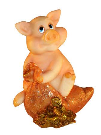 Happy pig on the money bag, isolated Standard-Bild