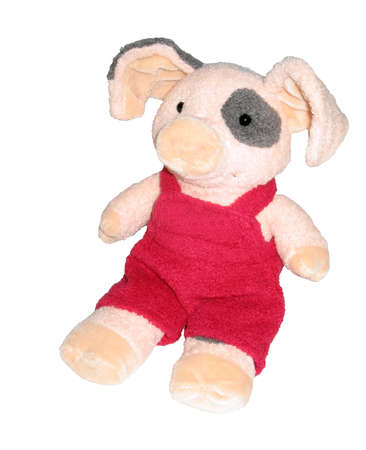 Pink pig in red pants, isolated on white background Standard-Bild