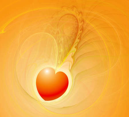 Love card template in yellow and orange colors Standard-Bild