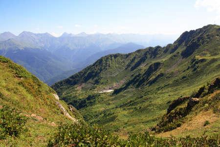 Mountain ridge of Caucasus in summer day
