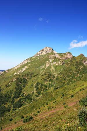Mountain Aibga of Caucasus ridge in summer day