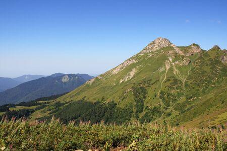 Aibga ridge of Caucasus in summer day photo
