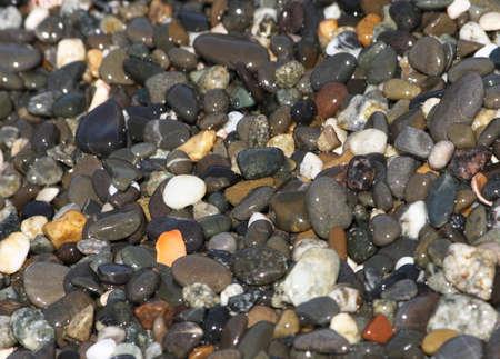 Various sea pebbles in a coastline