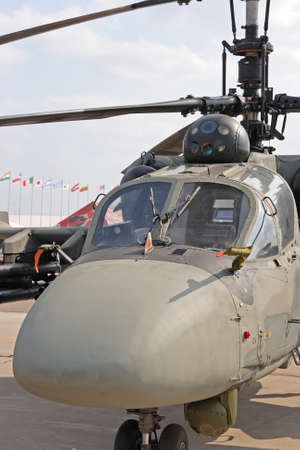 Cocpit of modern military helicopter in air show