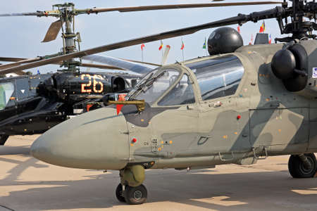 Modern military helicopter in air show
