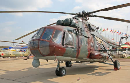 Military support helicopter in airshow
