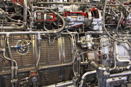 private parts: Fighter jet engine in the plant