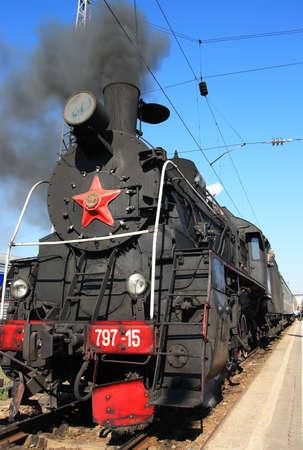 Steam locomotive in the railway station