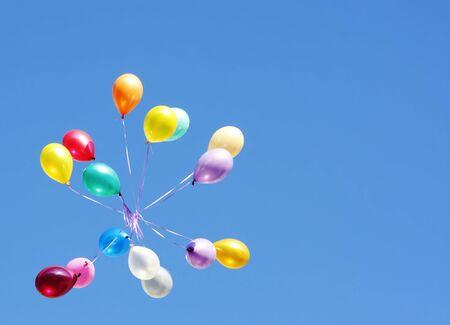 descriptive: Flying balloons card