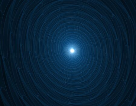 astral: Picture in dark blue color shows astral spiral and bright white dot in end of tunnel. Computer generated image.