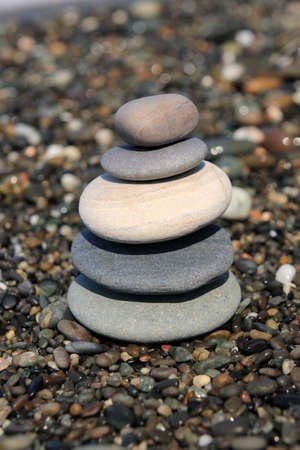 Five pebbles tower in the Sea beach