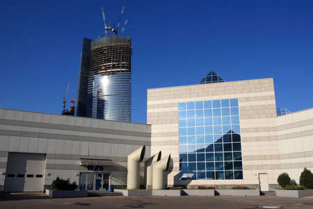 Moscow-city complex construction. View from the Expo Center yard. Standard-Bild