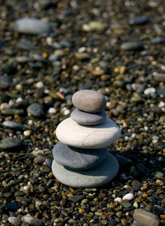 Five stones in pebble beach, Buddhism symbol