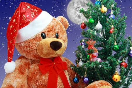 osos navide�os: Ten en santa sombrero sentarse cerca del �rbol de Navidad Foto de archivo
