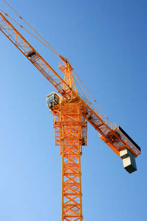 Yellow construction crane ground view