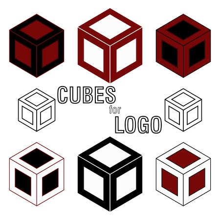 3d Cube isometric logo concept. Abstract square logo template. Corner geometric shape, symmetric symbol, square icon, box logo, box square shape. Company logo.