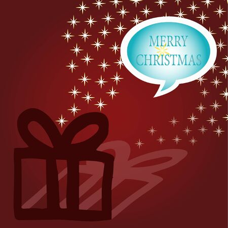 Speech Bubble Merry Christmas on red background with gift and stars Illustration
