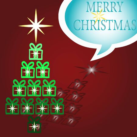 fir-tree with gifts and stars. Speech Bubble Merry Christmas on red background