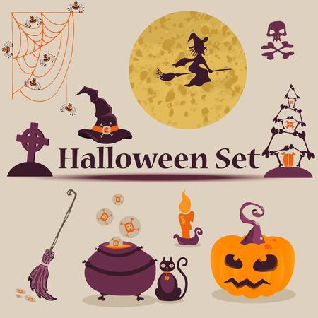 Vector illustration. Cute Halloween Characters.