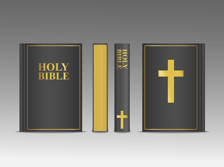 Closed Holy Bible vector 3d template.  Religion book mock up with black cover and gold frame with cross and font. Christian religious illustration