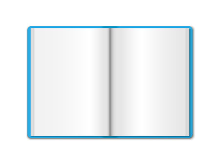 3D realistic model opened blue notebook. Vertical organizer with clean white pages. Template of notepad or diary isolated on white background. Color Mock up of empty book  Ilustrace