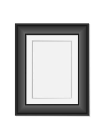 Vector realistic black photo frame  mock up isolated on white background. 3d vertical empty wall picture frame mockup illustration for your design. poster template for your presentation
