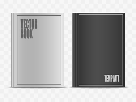 Vector realistic white and black book mock up isolated on transparent background. 3d vertical front view notebook mockup illustration for your design. Stock Vector - 94745550