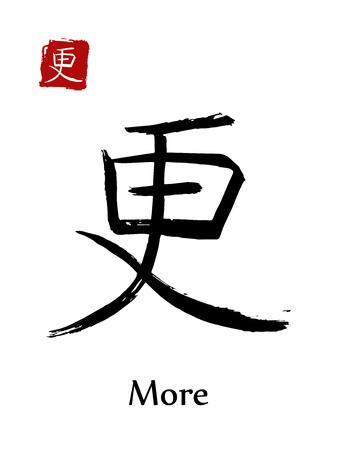 Hieroglyph Chinese calligraphy translate, more, vector east Asian symbols on white background. Hand drawn china hieroglyphic, ink brush hieroglyph.