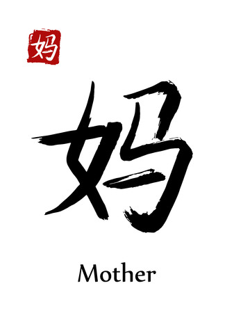 Hieroglyph Chinese calligraphy translate, mother, vector east Asian symbols on white background. Hand drawn china hieroglyphic, ink brush hieroglyph.