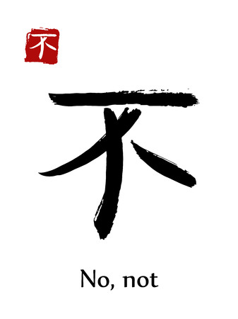 Hieroglyph Chinese calligraphy translate, no or not, vector east Asian symbols on white background. Hand drawn china hieroglyphic, ink brush hieroglyph.