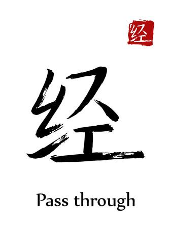 Hieroglyph Chinese calligraphy translate pass through vector east Asian symbols on white background. Hand drawn china hieroglyphic ink brush Japanese hieroglyph.