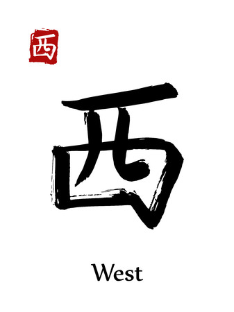 Hieroglyph chinese calligraphy translate - west. Vector east asian symbols on white background. Hand drawn china hieroglyphic. Ink brush Japanese hieroglyph  Illustration