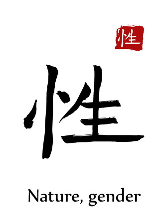 Hieroglyph chinese calligraphy translate - nature, gender. Vector east asian symbols on white background. Hand drawn china hieroglyphic. Ink brush Japanese hieroglyph