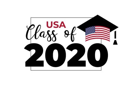 USA Class of 2020. Black number with education academic cap with United States of America flag. Template for graduation design, high school or college congratulation graduate. Vector illustration.  イラスト・ベクター素材
