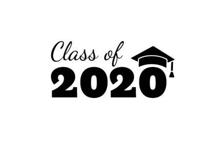 Klasse von 2020. Schwarze Nummer mit akademischen Kappen für Bildung. Vektor-Illustration. Vektorgrafik