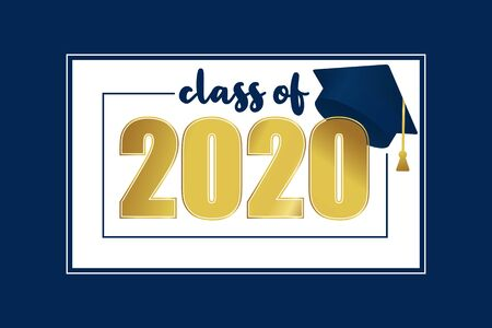Class of 2020. Gold number with education academic cap on white and blue background. Template for graduation design frame, high school or college congratulation graduate, yearbook. Vector illustration  イラスト・ベクター素材